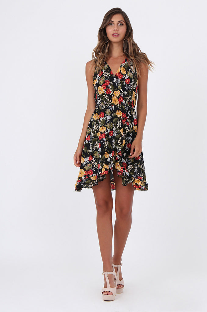 SAD1523-BLACK FLORAL FRILL WRAP STYLE DRESS view main view
