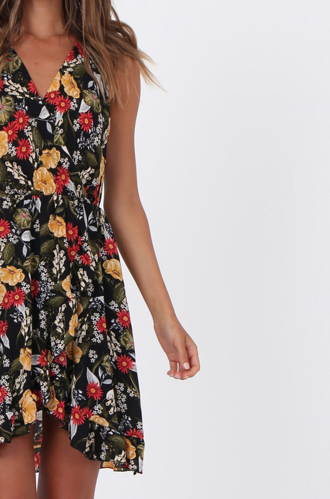 SAD1523-BLACK FLORAL FRILL WRAP STYLE DRESS view 5