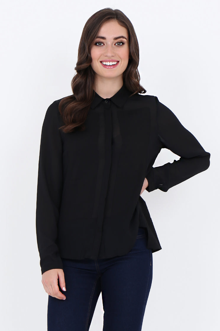 sad1885-black front panel button front collared blouse - l