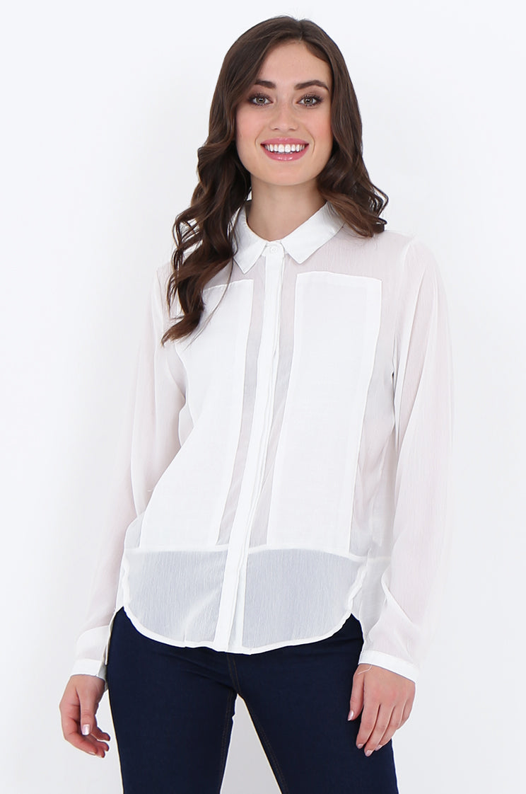 sad1885-white front panel button front collared blouse - l