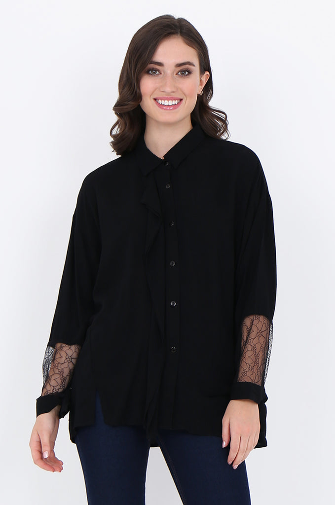 SAD1887-BLACK RUFFLE FRONT LACE SLEEVE BUTTON FRONT COLLARED BLOUSE