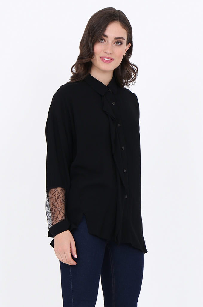 SAD1887-BLACK RUFFLE FRONT LACE SLEEVE BUTTON FRONT COLLARED BLOUSE view 2