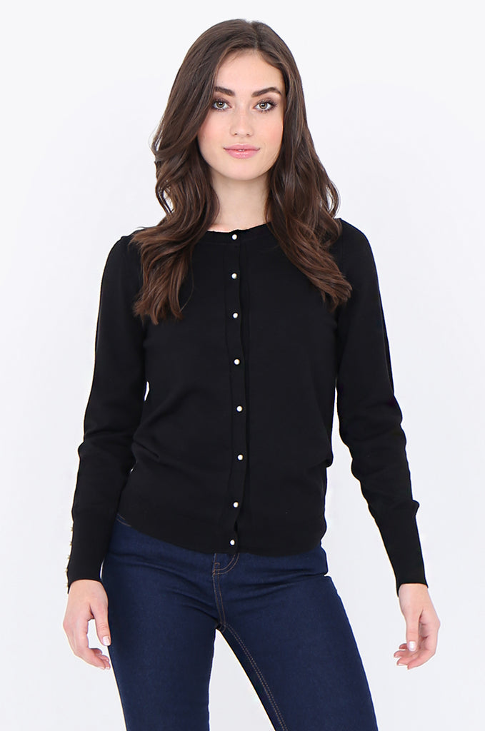 SAD1890-BLACK PEARL BUTTON FRONT & CUFF CARDIGAN view main view