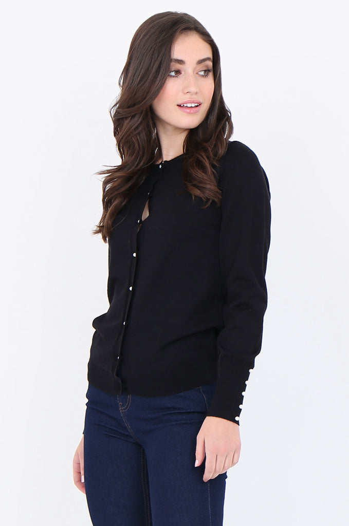 SAD1890-BLACK PEARL BUTTON FRONT & CUFF CARDIGAN view 2