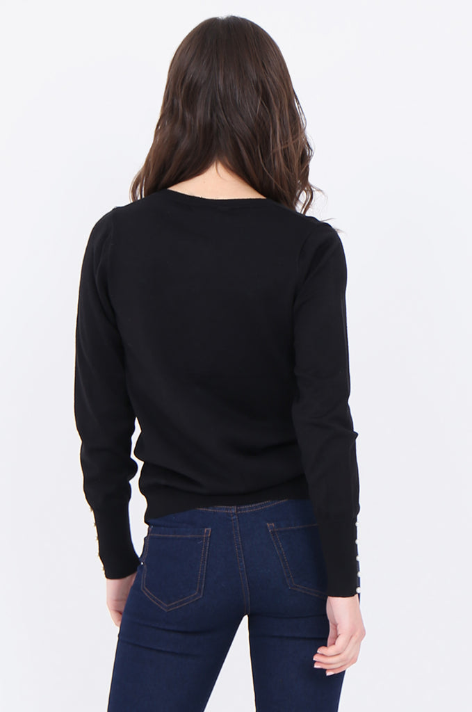 SAD1890-BLACK PEARL BUTTON FRONT & CUFF CARDIGAN view 3