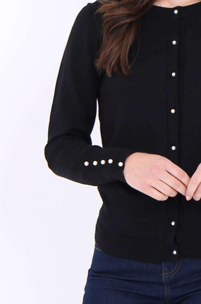 SAD1890-BLACK PEARL BUTTON FRONT & CUFF CARDIGAN view 5