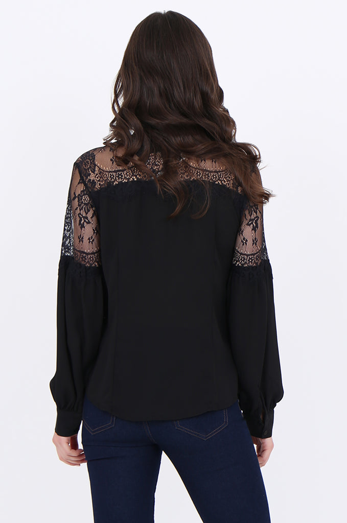 SAD1898-BLACK LACE YOKE RUFFLE NECK PUFF SLEEVE BLOUSE