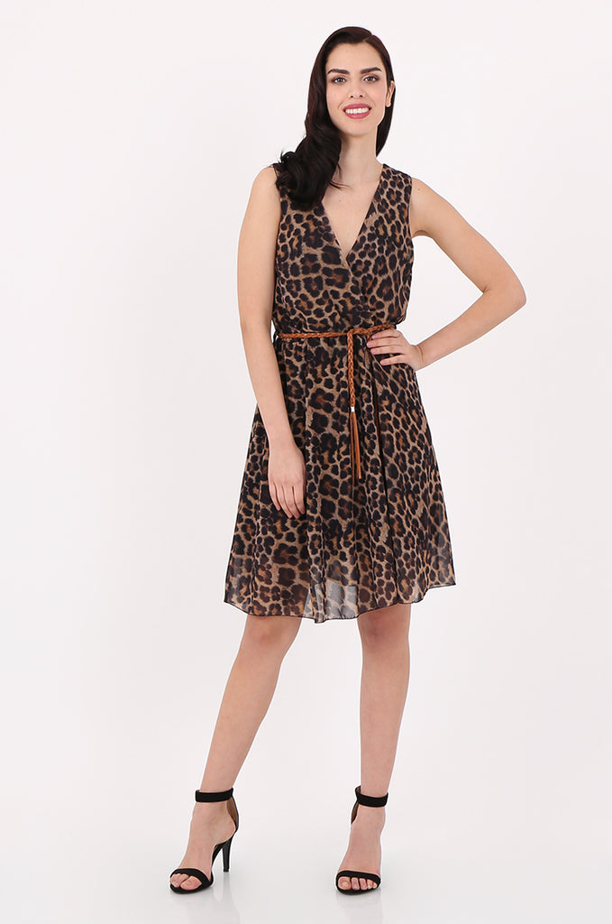 SAD2547-BROWN ANIMAL PRINT V-NECK DRESS
