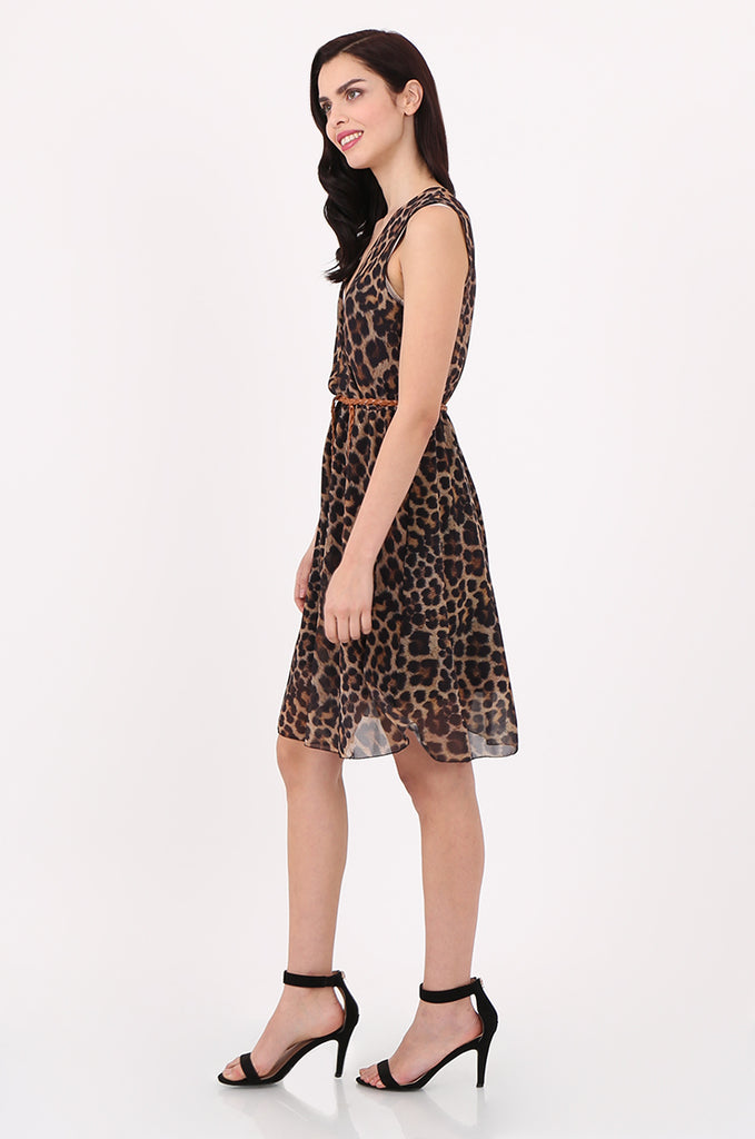 SAD2547-BROWN ANIMAL PRINT V-NECK DRESS view 2