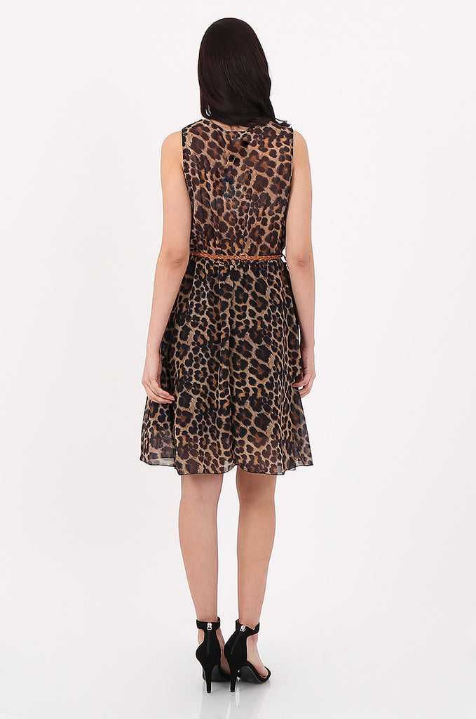 SAD2547-BROWN ANIMAL PRINT V-NECK DRESS view 3