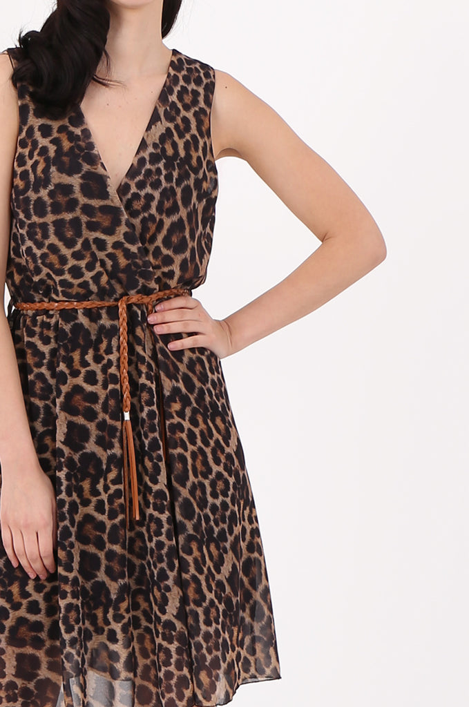 SAD2547-BROWN ANIMAL PRINT V-NECK DRESS view 4