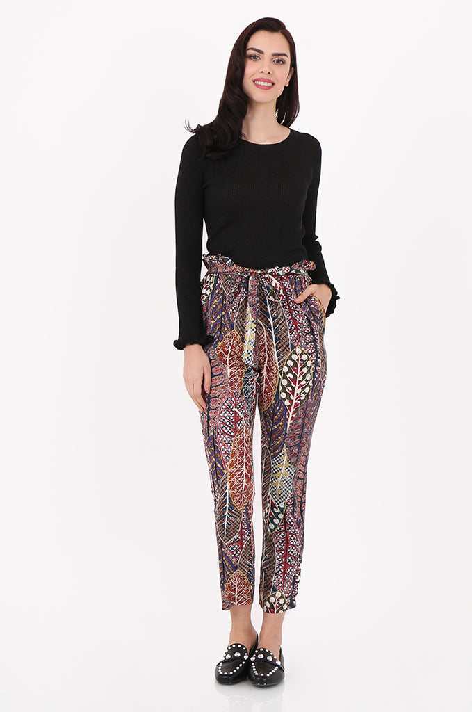 SAD2548-MULTI PRINTED PAPERBAG WAIST TROUSERS view main view
