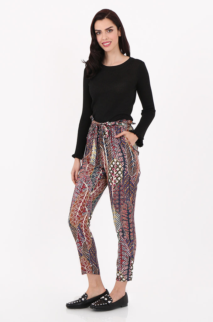 SAD2548-MULTI PRINTED PAPERBAG WAIST TROUSERS view 2