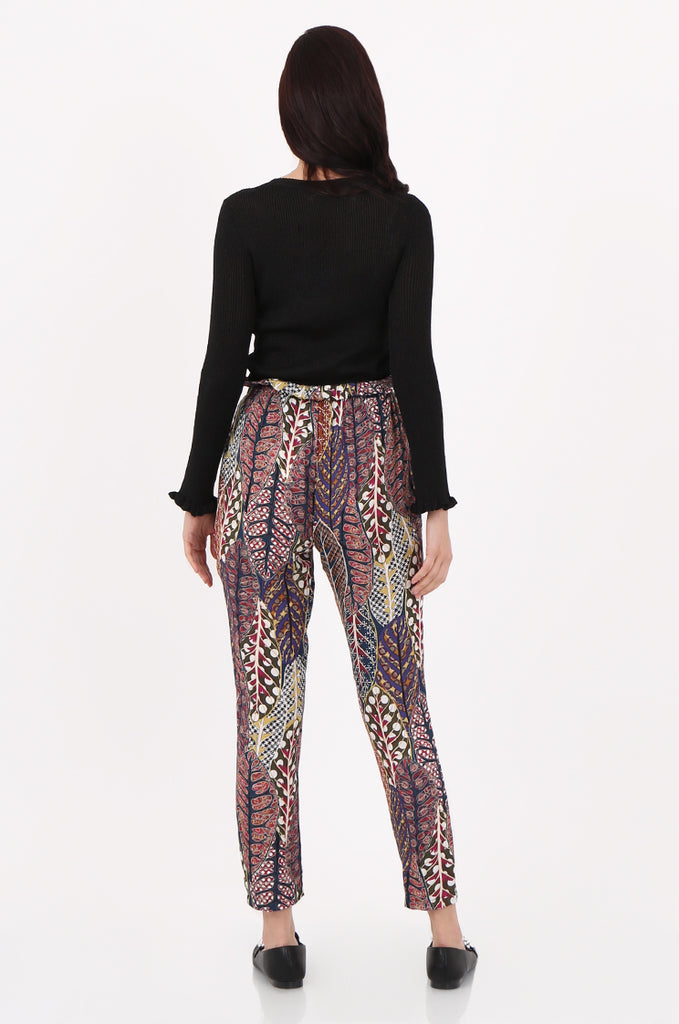 SAD2548-MULTI PRINTED PAPERBAG WAIST TROUSERS view 3