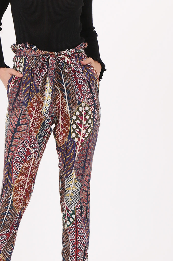 SAD2548-MULTI PRINTED PAPERBAG WAIST TROUSERS view 4