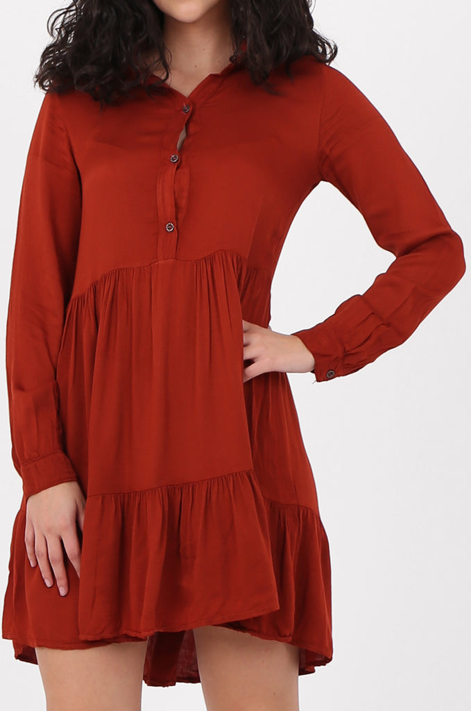 SAD2566-RUST BUTTON FRONT RELAXED FIT SHIRT DRESS view 5