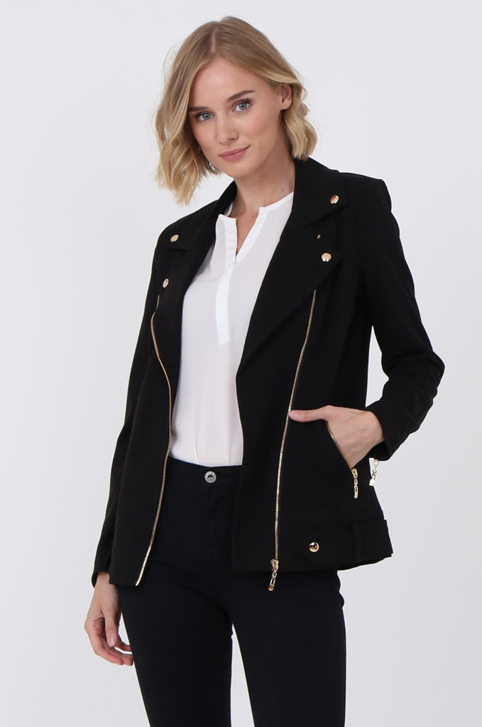SAT1096-BLACK GOLD DETAILED BIKER JACKET