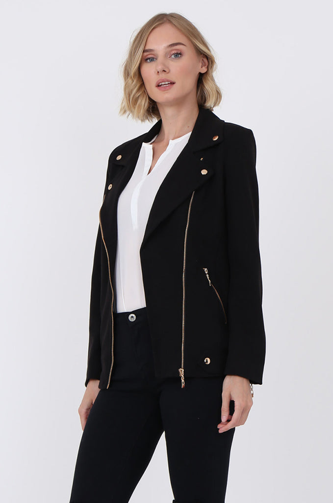 SAT1096-BLACK GOLD DETAILED BIKER JACKET view 2