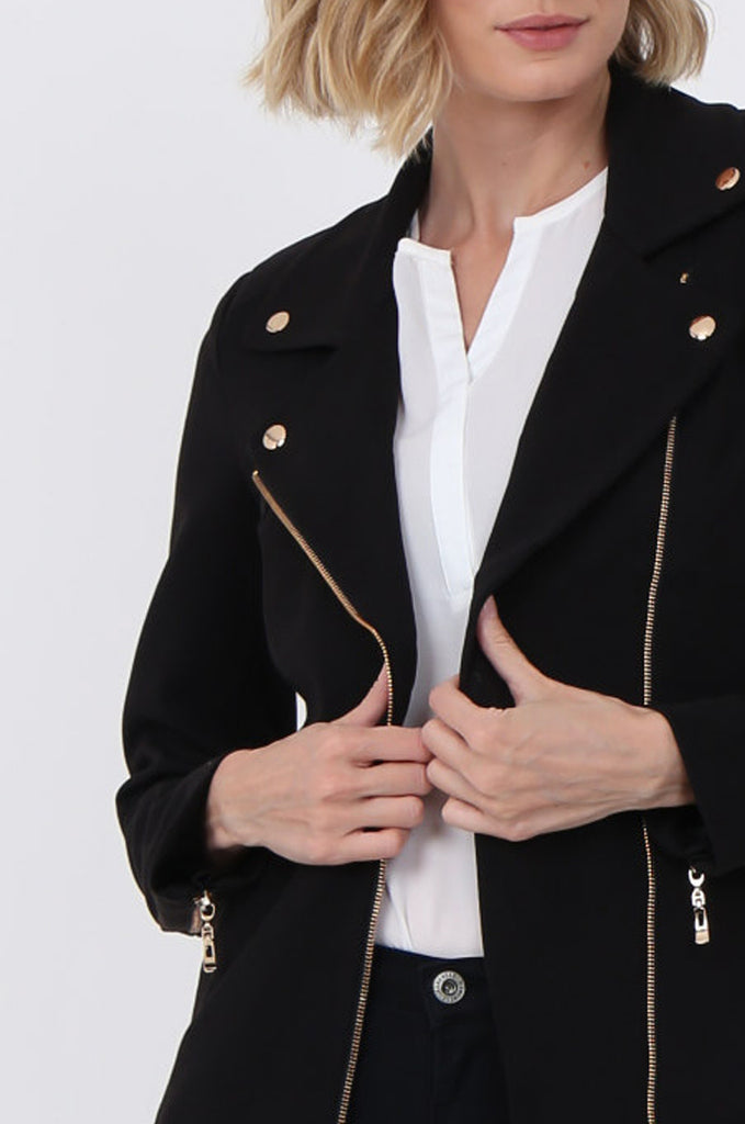 SAT1096-BLACK GOLD DETAILED BIKER JACKET view 5