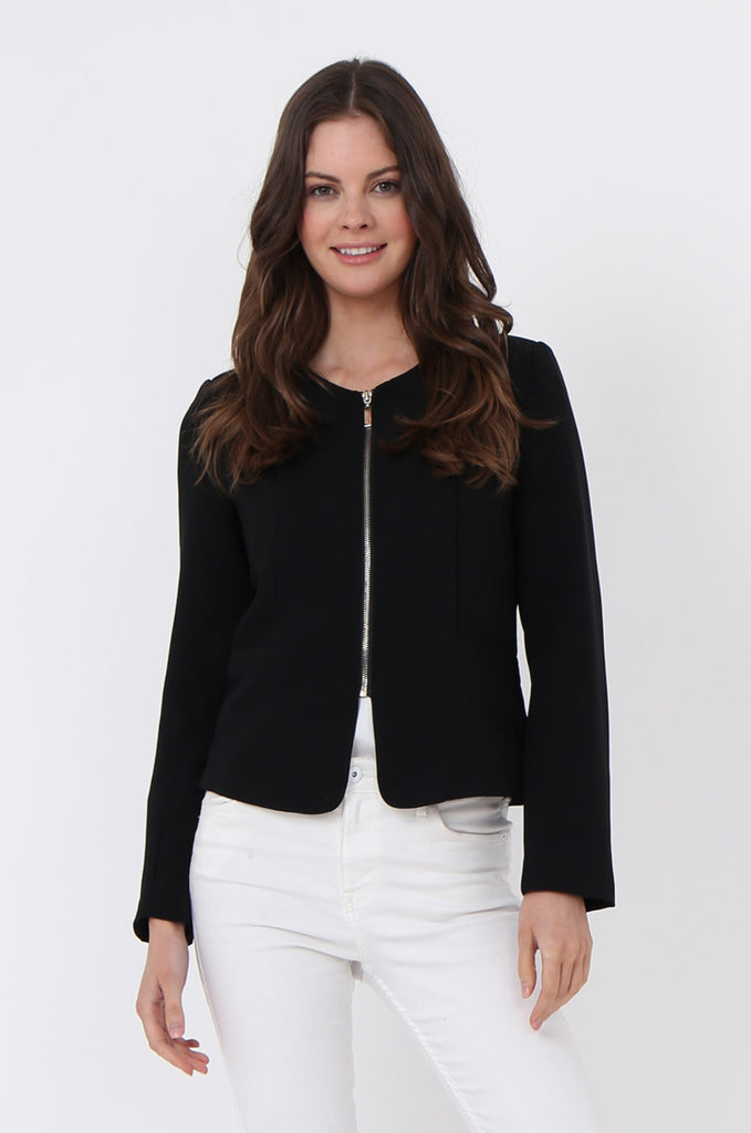 SAT1097-BLACK BACK ZIP DETAIL BLAZER