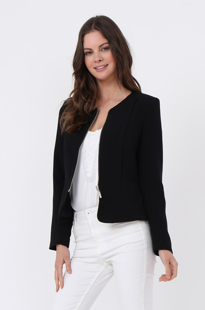 SAT1097-BLACK BACK ZIP DETAIL BLAZER view 2