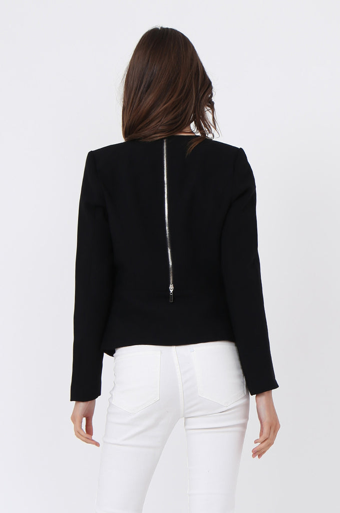 SAT1097-BLACK BACK ZIP DETAIL BLAZER view 3