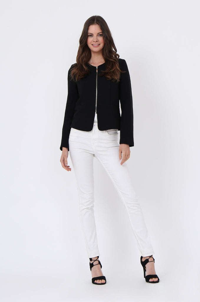 SAT1097-BLACK BACK ZIP DETAIL BLAZER view 4