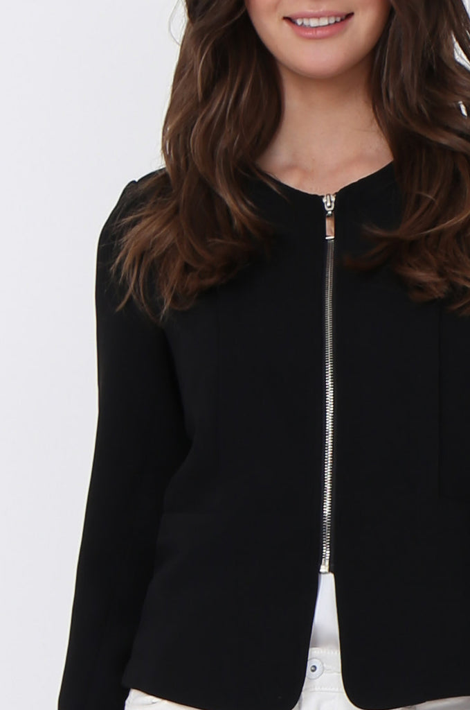 SAT1097-BLACK BACK ZIP DETAIL BLAZER view 5