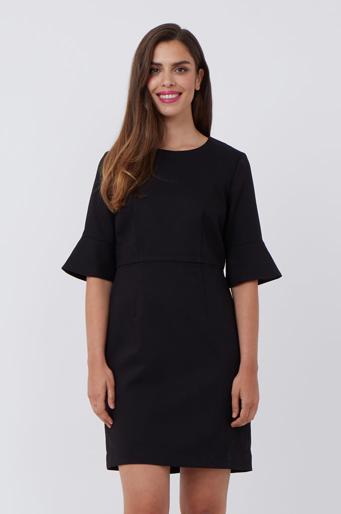 SAT1217-BLACK FLARE SLEEVE SHIFT DRESS view 2