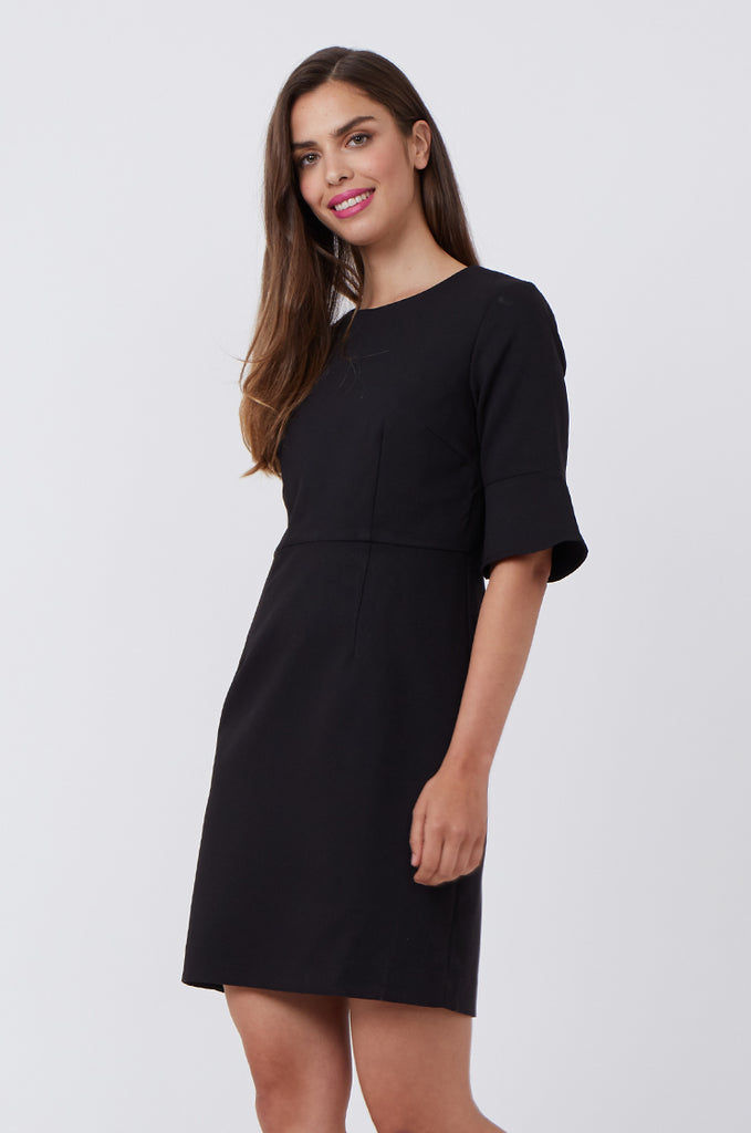 SAT1217-BLACK FLARE SLEEVE SHIFT DRESS view 3