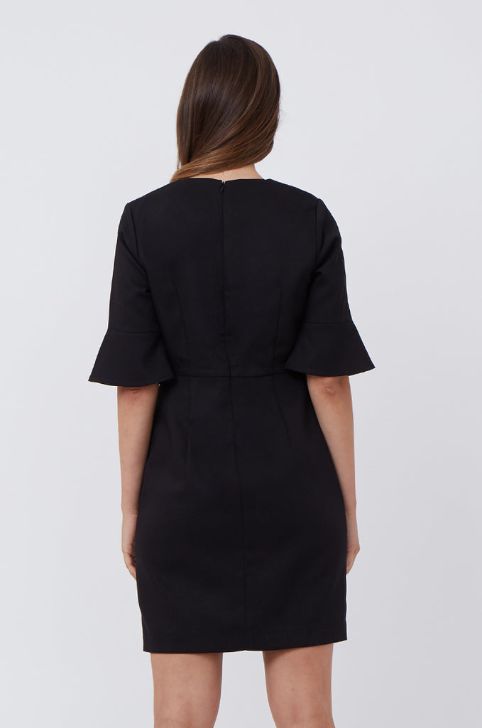 SAT1217-BLACK FLARE SLEEVE SHIFT DRESS view 4