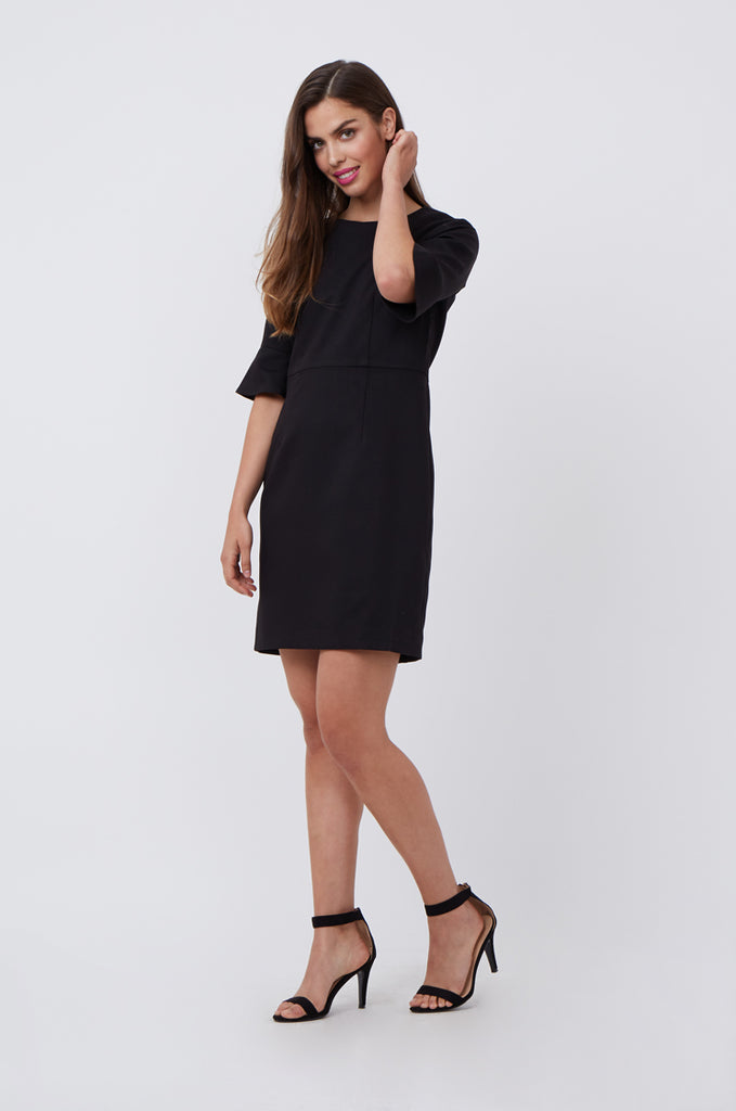 SAT1217-BLACK FLARE SLEEVE SHIFT DRESS view main view