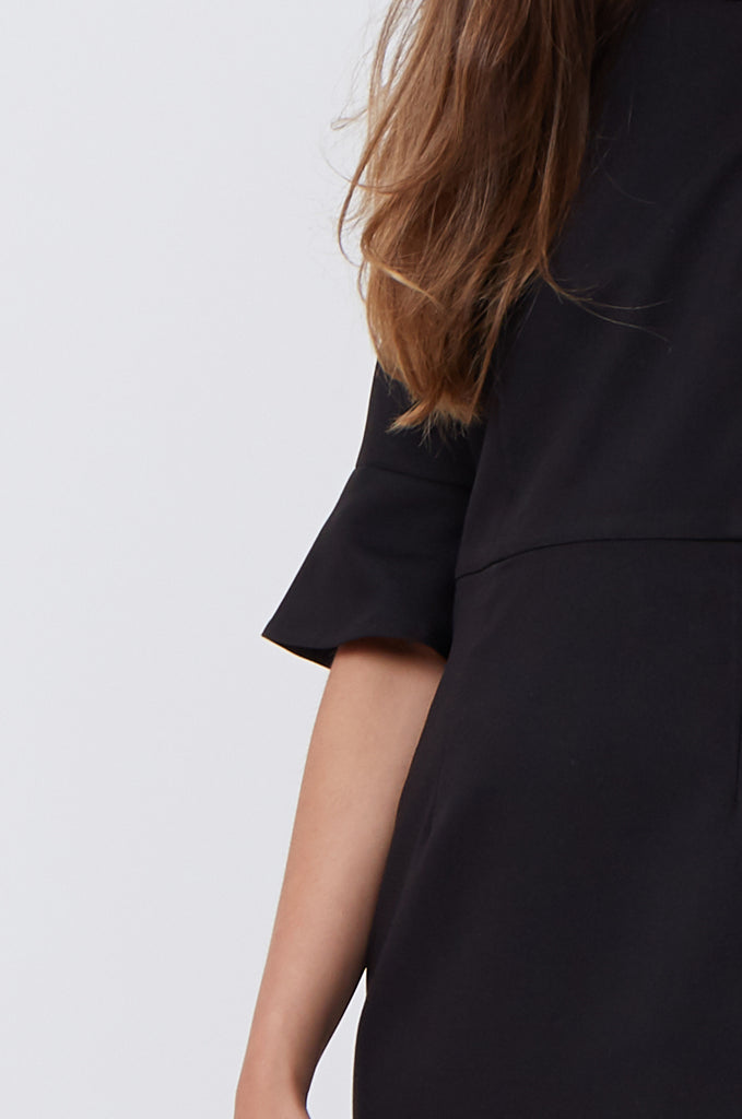 SAT1217-BLACK FLARE SLEEVE SHIFT DRESS view 5
