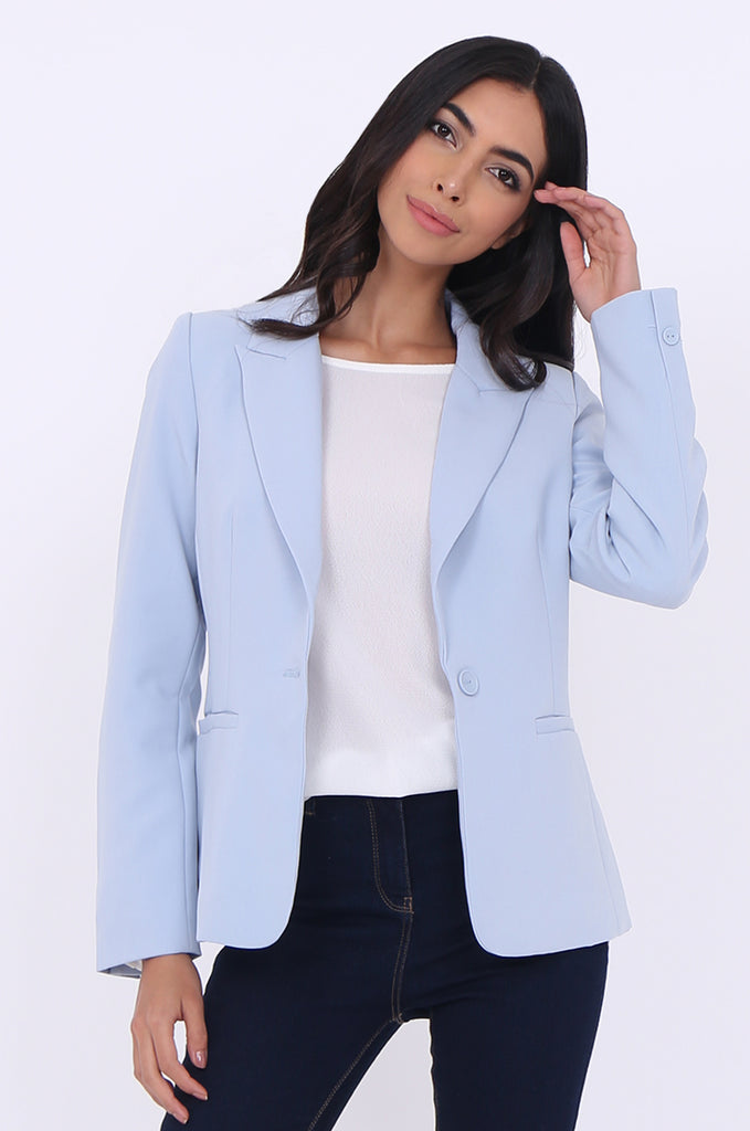 SAT1786-BLUE BUTTON FRONT KNOTCHED COLLAR POCKET BLAZER