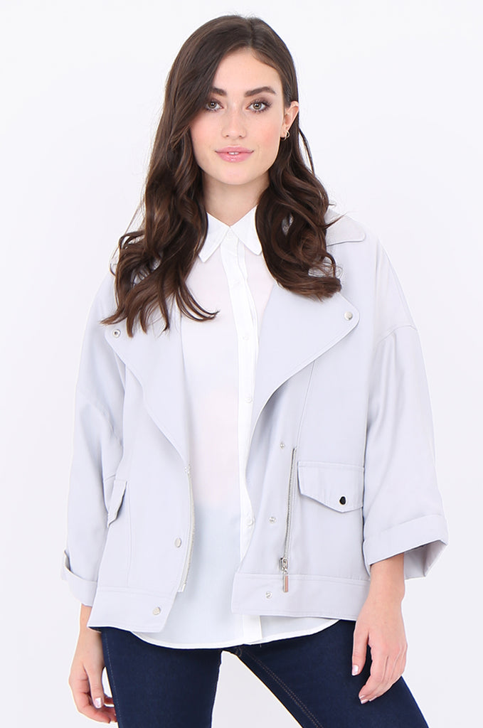 SAT1908-GREY POPPER & ZIP FRONT WIDE LAPEL BATWING SLEEVE BIKER JACKET