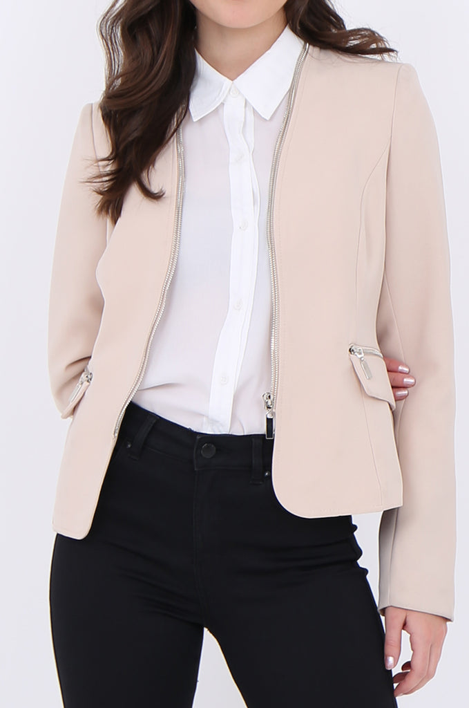 SAT1912-BEIGE ZIP AROUND NECK & ZIP POCKET BLAZER
