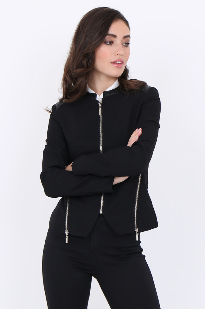 SAT1913-BLACK ZIP SIDE QUILTED LEATHERETTE SHOULDER & NECK BLAZER view main view