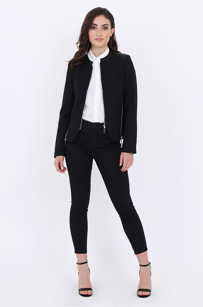 SAT1913-BLACK ZIP SIDE QUILTED LEATHERETTE SHOULDER & NECK BLAZER view 4