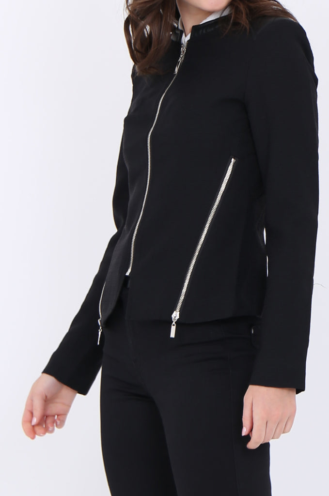 SAT1913-BLACK ZIP SIDE QUILTED LEATHERETTE SHOULDER & NECK BLAZER