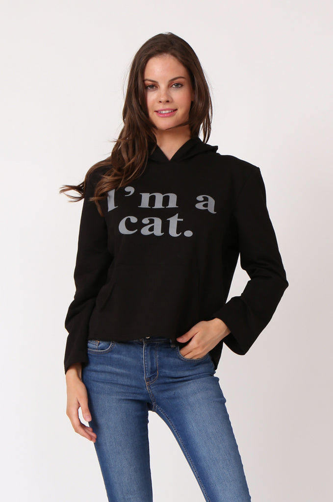 SBG1277-BLACK I'M A CAT HOODIE view main view