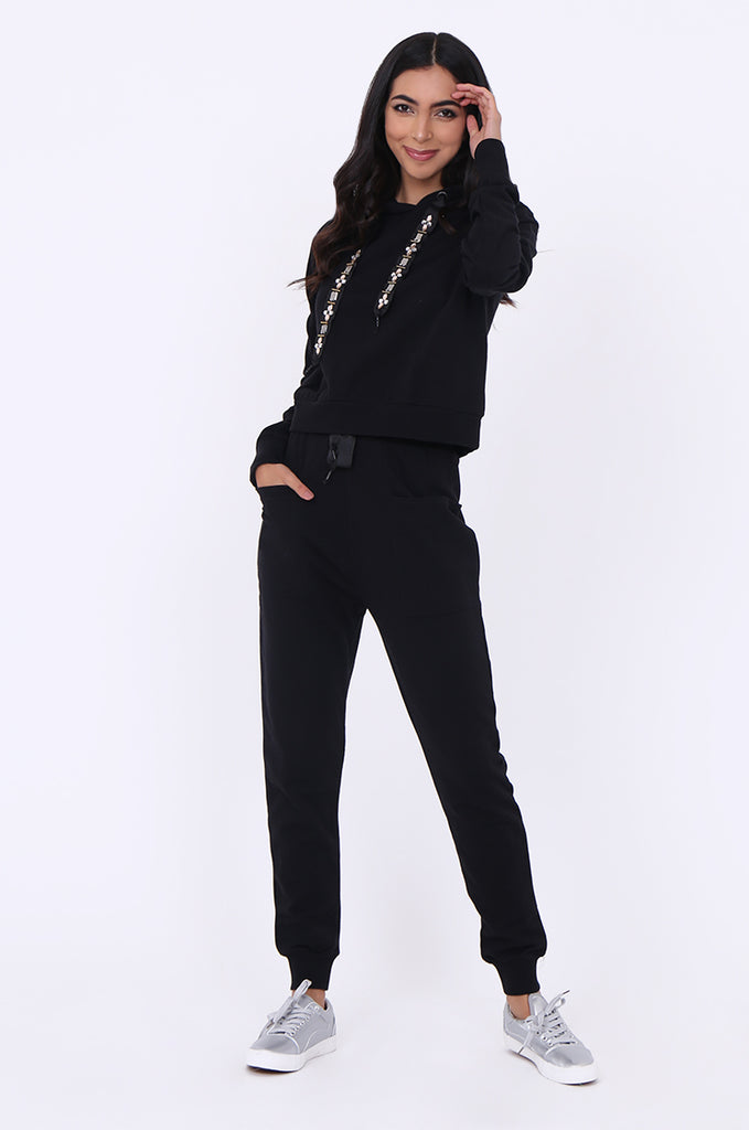 SBG1365-BLACK JEWEL DETAIL SWEATSHIRT & PANTS SET