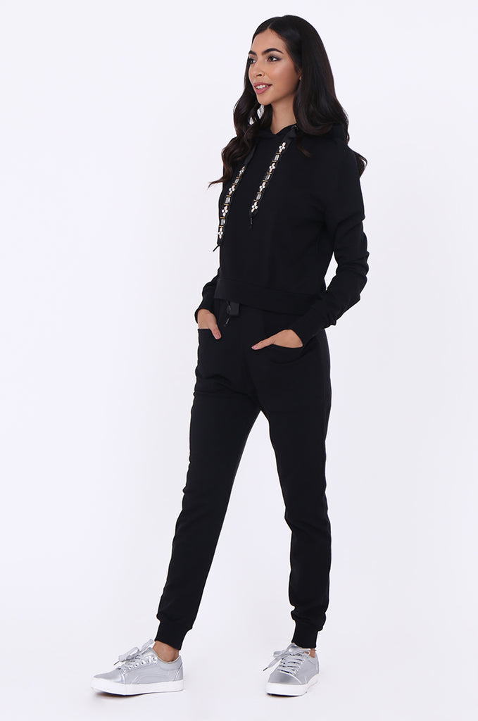 SBG1365-BLACK JEWEL DETAIL SWEATSHIRT & PANTS SET view 2