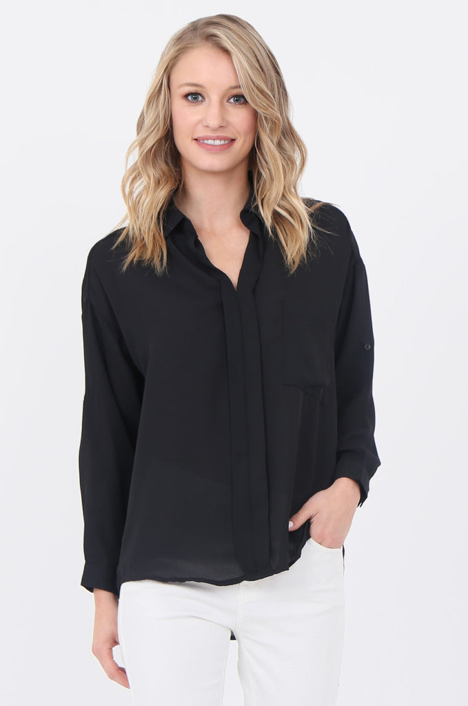 SCP1684-BLACK COLLARED POCKET FRONT BLOUSE view main view
