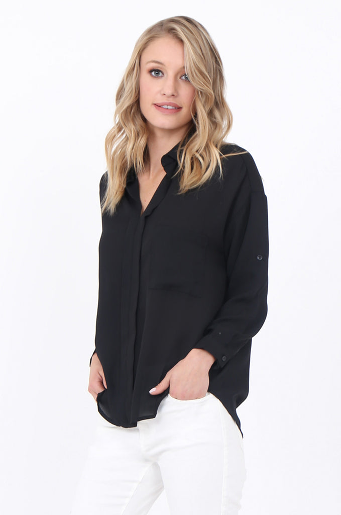 SCP1684-BLACK COLLARED POCKET FRONT BLOUSE view 2