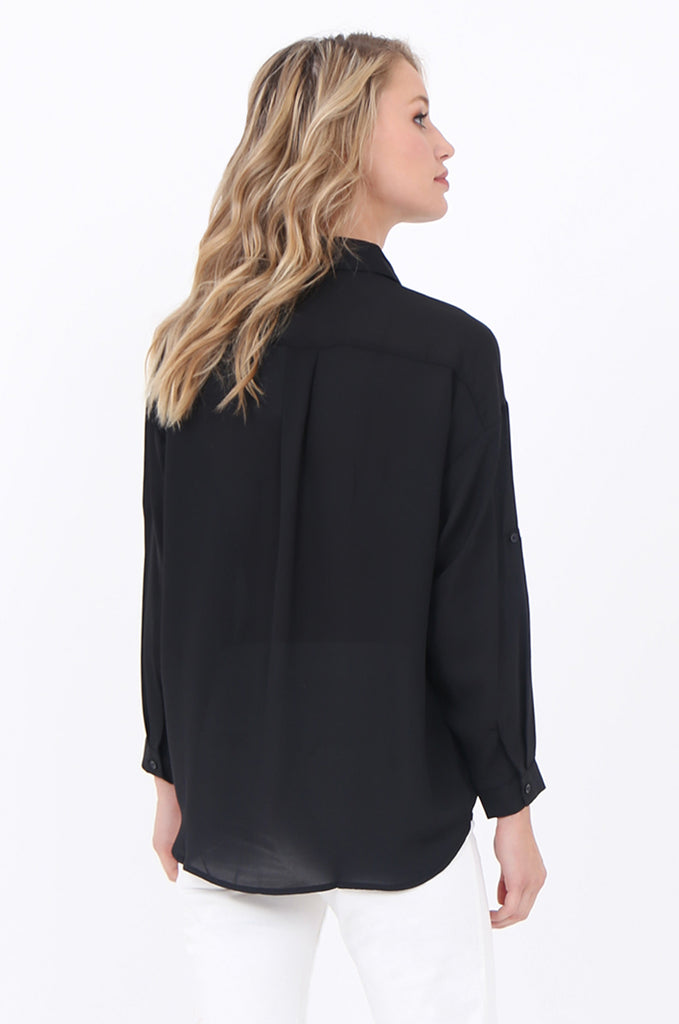 SCP1684-BLACK COLLARED POCKET FRONT BLOUSE view 3