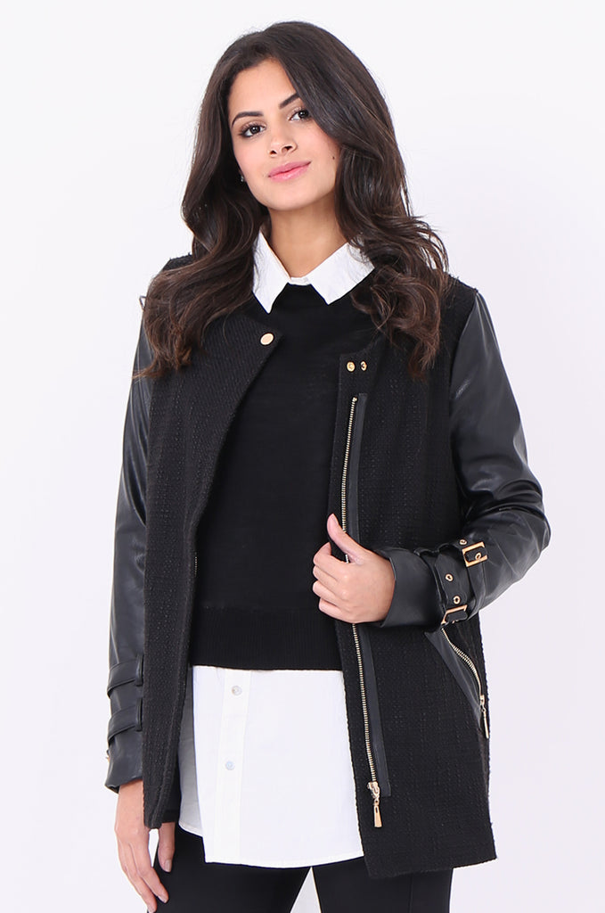 SCP1976-BLACK ZIP FRONT LEATHERETTE SLEEVE JACKET view 2