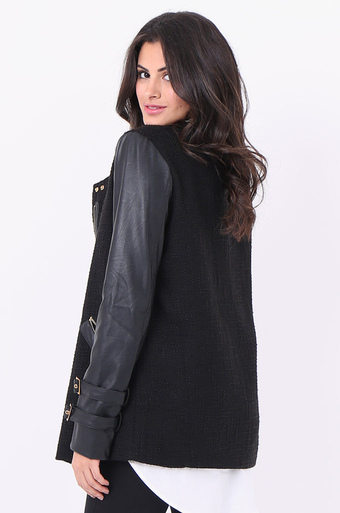SCP1976-BLACK ZIP FRONT LEATHERETTE SLEEVE JACKET view 4