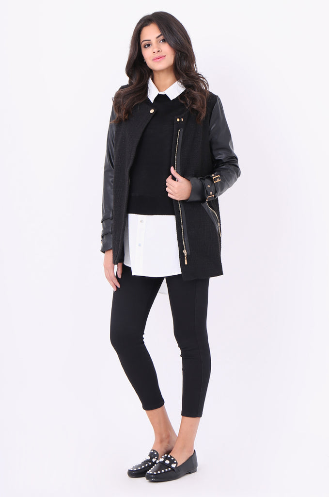 SCP1976-BLACK ZIP FRONT LEATHERETTE SLEEVE JACKET