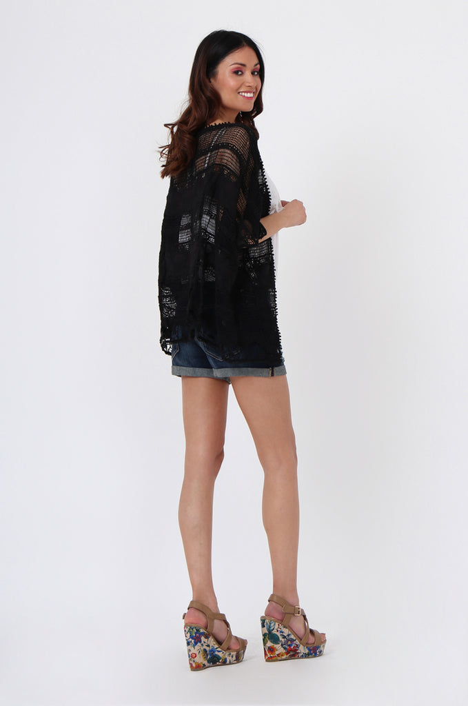 SEB1042-BLACK CROCHET CARDIGAN view 4