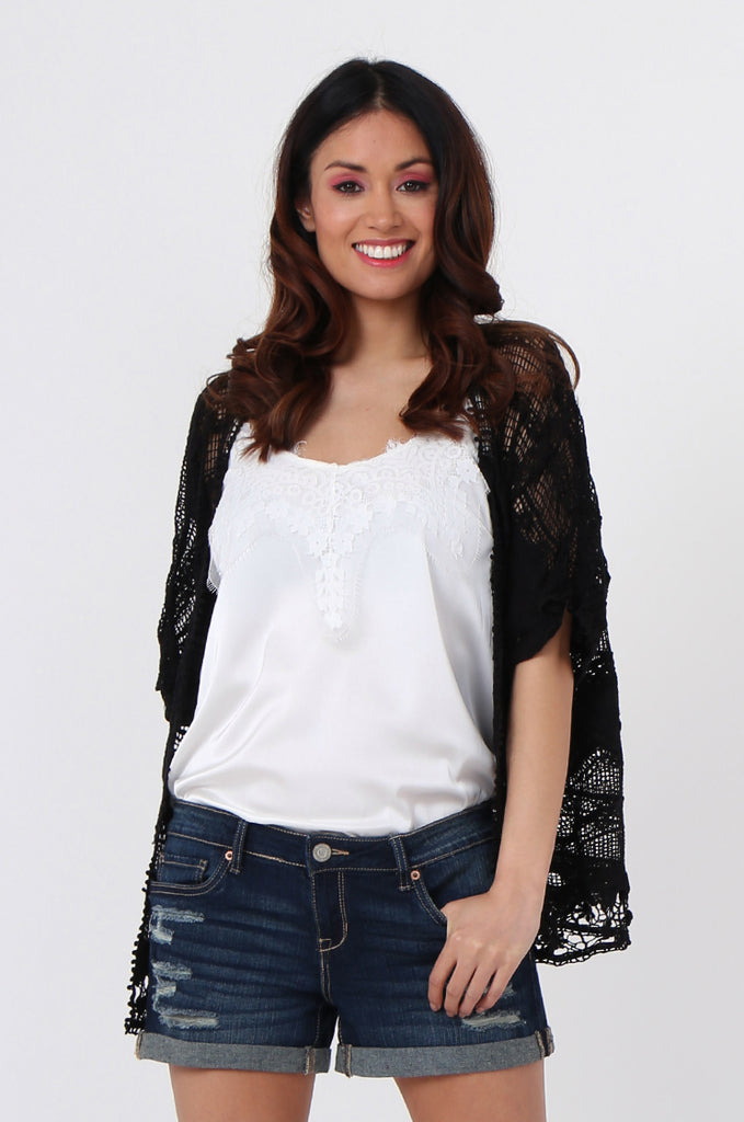 SEB1042-BLACK CROCHET CARDIGAN
